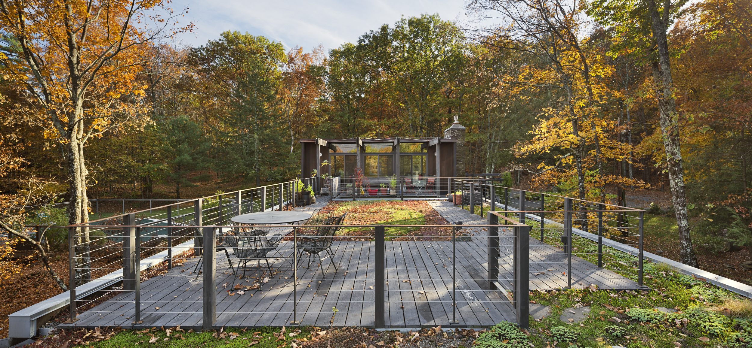 The site on the north face of a steep hill facing the Catskills presents both magnificent views and environmental challenges. To manage the heavy rain and runoff down the slope, the studio is raised on concrete pilotis and has an extensive green roof.