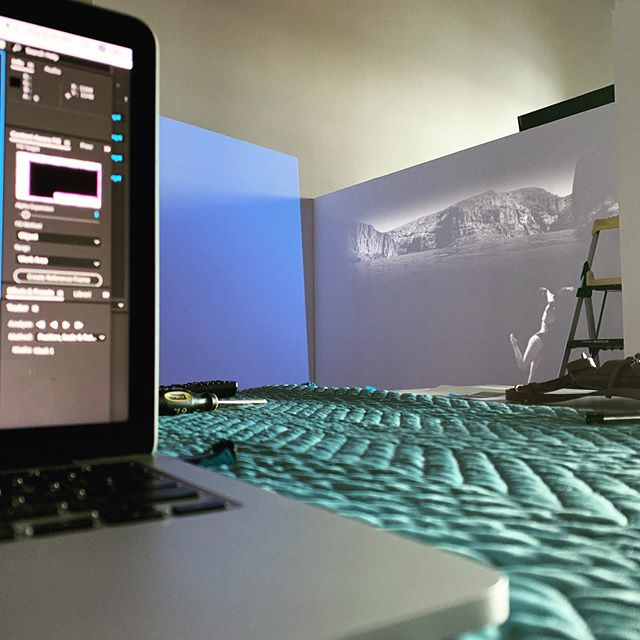Installation in progress for the @tempearts summer exhibition, WATER. I will be exhibiting two pieces from my self portrait video series, Groundwater. The opening reception is Friday, May 31st from 6-9pm. I hope to see you there! . . . . #art #artist #tempeart #phxart #tempecenterforthearts #installation #water #underwater #projection #projectionart #groundwater #videoart #ecoart #environment #blackandwhite #swim #synchronizedswimmer #selfportrait #contemporaryart