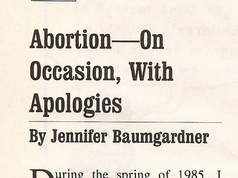 Abortion-On Occasion, With Apologies  Z Magazine , September 2000