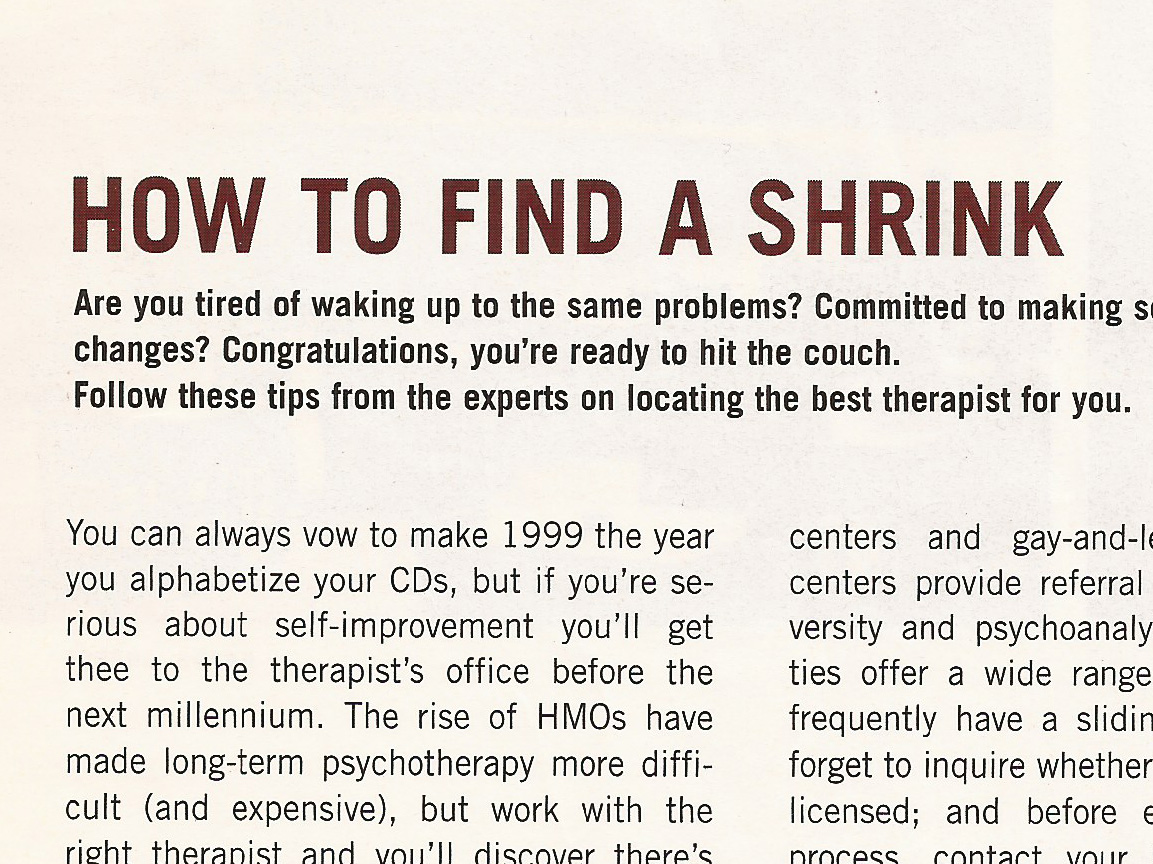 How To Find a Shrink January 1999
