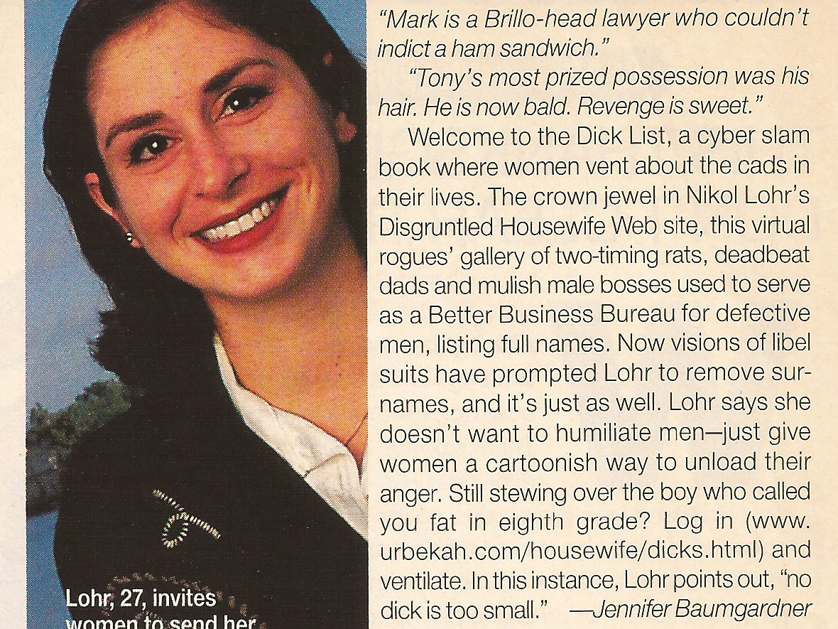 New Way to Vent About Men  Glamour Magazine , 1997