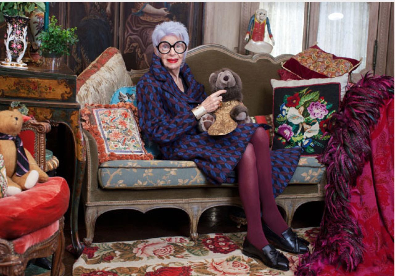 Iris Apfel, Geschäftsfrau, Interior Designer und amerikanische Stilikone   http://www.stories.com/de/We_love/Iris_Apfels_Favourites?utm_source=Apsis+Pro&utm_medium=Email&utm_content=Content&utm_campaign=2014-10-10_Iris_Apfel_a_new_york_icon_on_personal_style