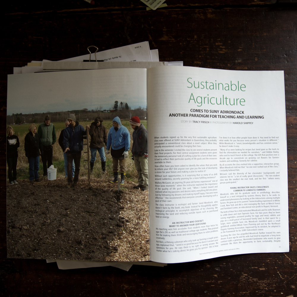 Jared is a professor at SUNY Adirondack and teachessustainable agriculture.