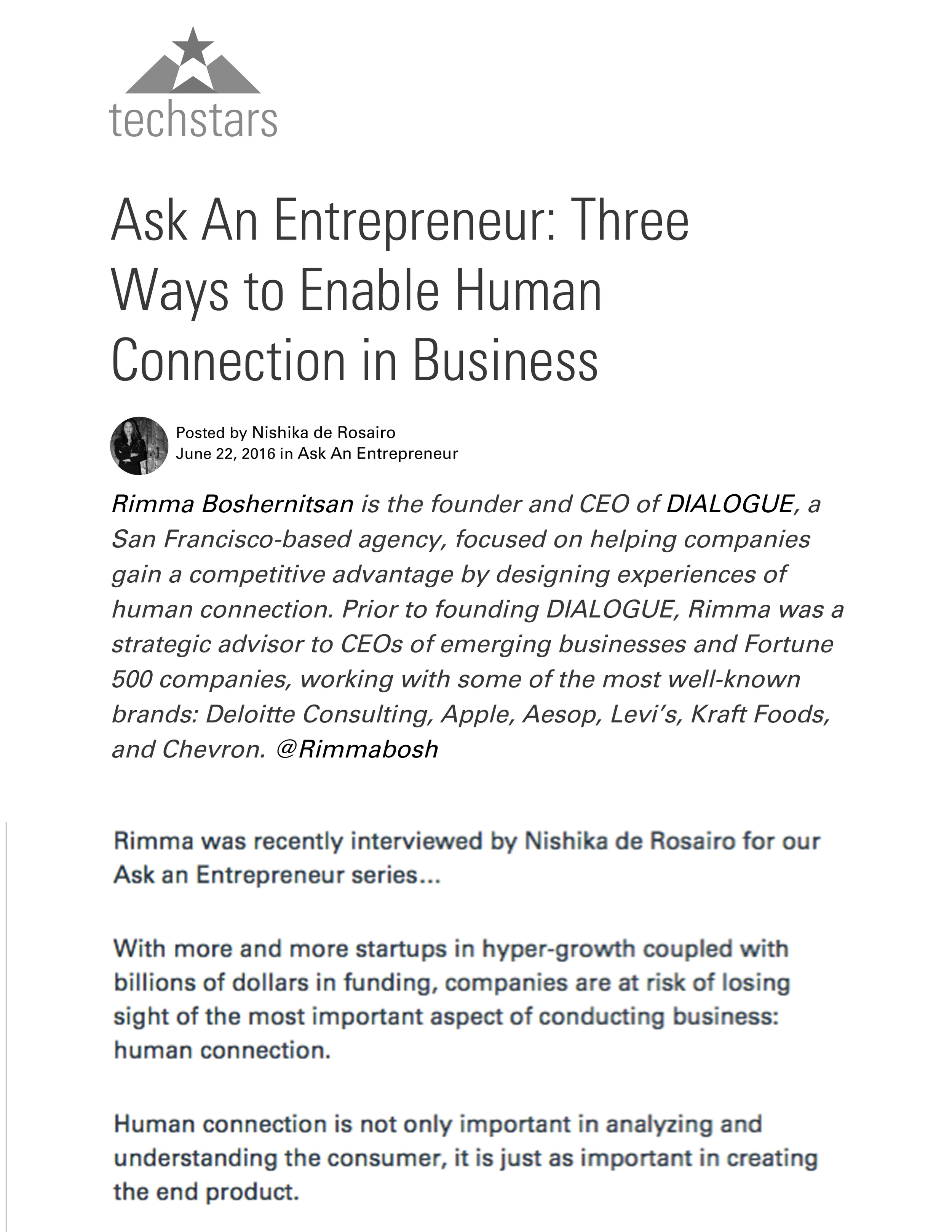 TECH STARS // ASK AN ENTREPRENEUR