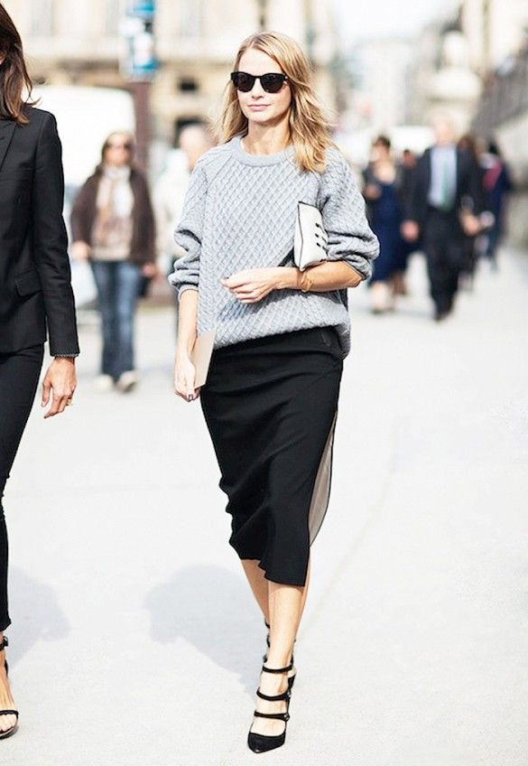 FAVORITE FALL PAIRING CHUNKY SWEATERS X PENCIL SKIRTS