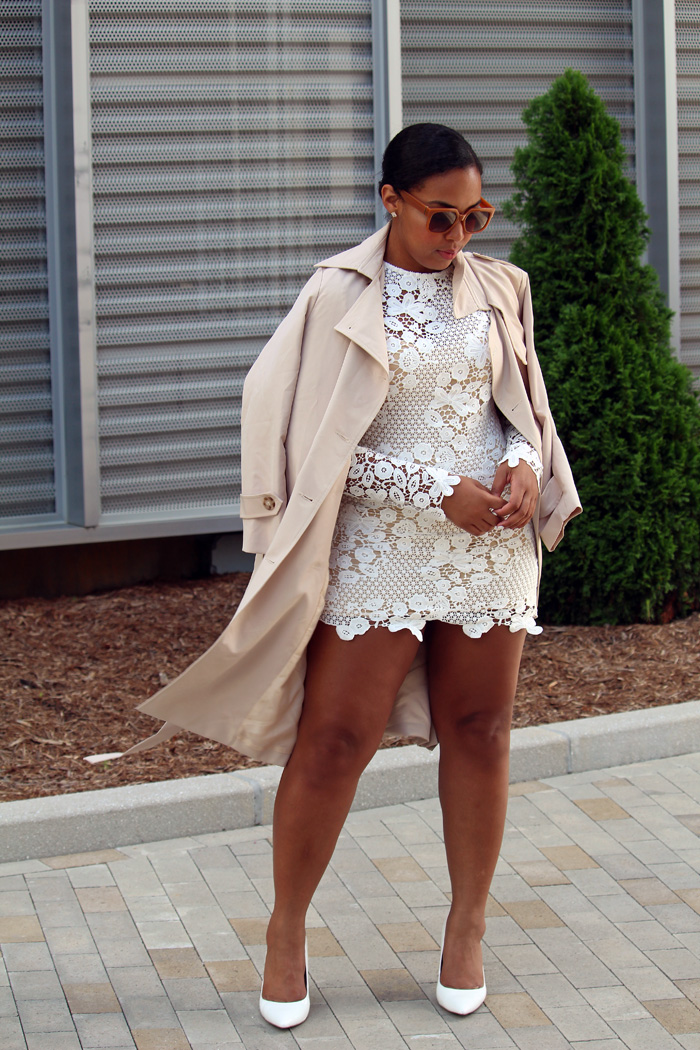 Robinson-Style-Shop-Trench-and-Long-Sleeve-Lace-Mini-Dress-BCBG-pumps-Banana-Republic-sunglasses-2.jpg