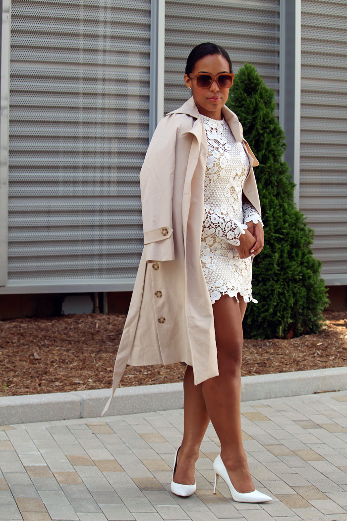 Robinson-Style-Shop-Trench-and-Long-Sleeve-Lace-Mini-Dress-BCBG-pumps-Banana-Republic-sunglasses-3.jpg