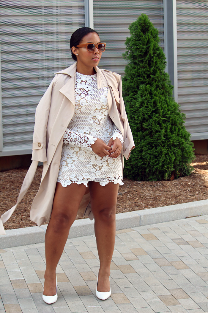 Robinson-Style-Shop-Trench-and-Long-Sleeve-Lace-Mini-Dress-BCBG-pumps-Banana-Republic-sunglasses.jpg