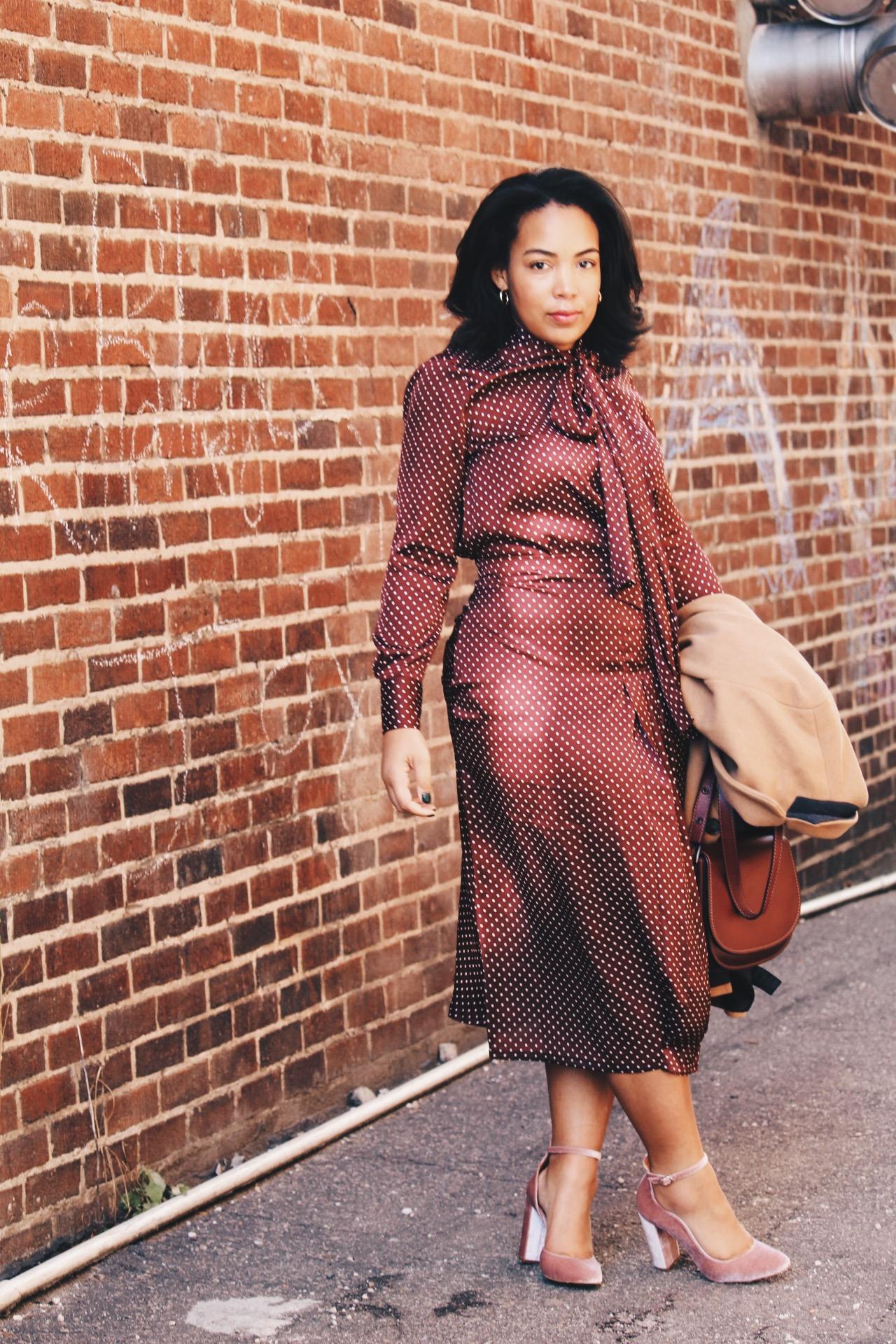 Zara-polka-dot-blouse-and-skirt-urban-outfitters-camel-coat-coach-saddle-bag-topshop-gracie-velvet-heels-similar-aquazurra-alix-pumps-womens-workwear-fashion-9.JPG