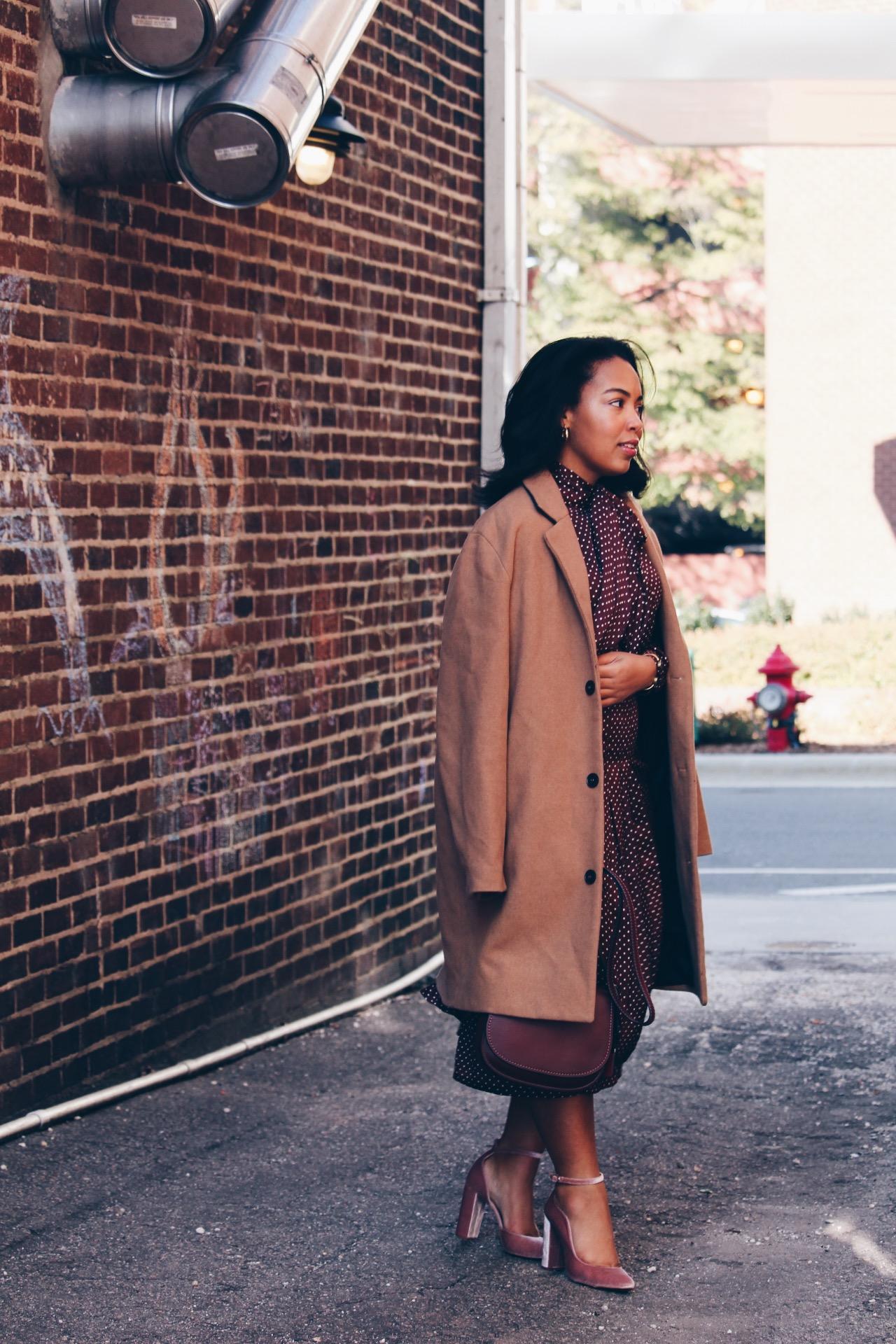 Zara-polka-dot-blouse-and-skirt-urban-outfitters-camel-coat-coach-saddle-bag-topshop-gracie-velvet-heels-similar-aquazurra-alix-pumps-womens-workwear-fashion-11.JPG