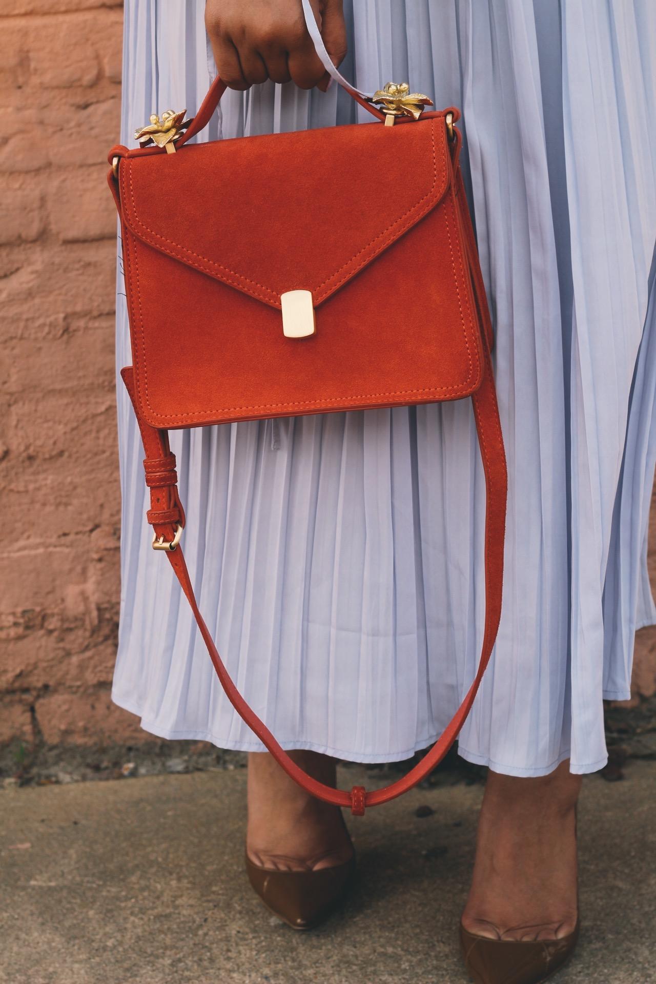 Warehouse-UK-asos-pleated-cold-shoulder-dress-in-lavender-zara-orange-suede-bag-House-of-CB-paris-nude-pumps-14.JPG