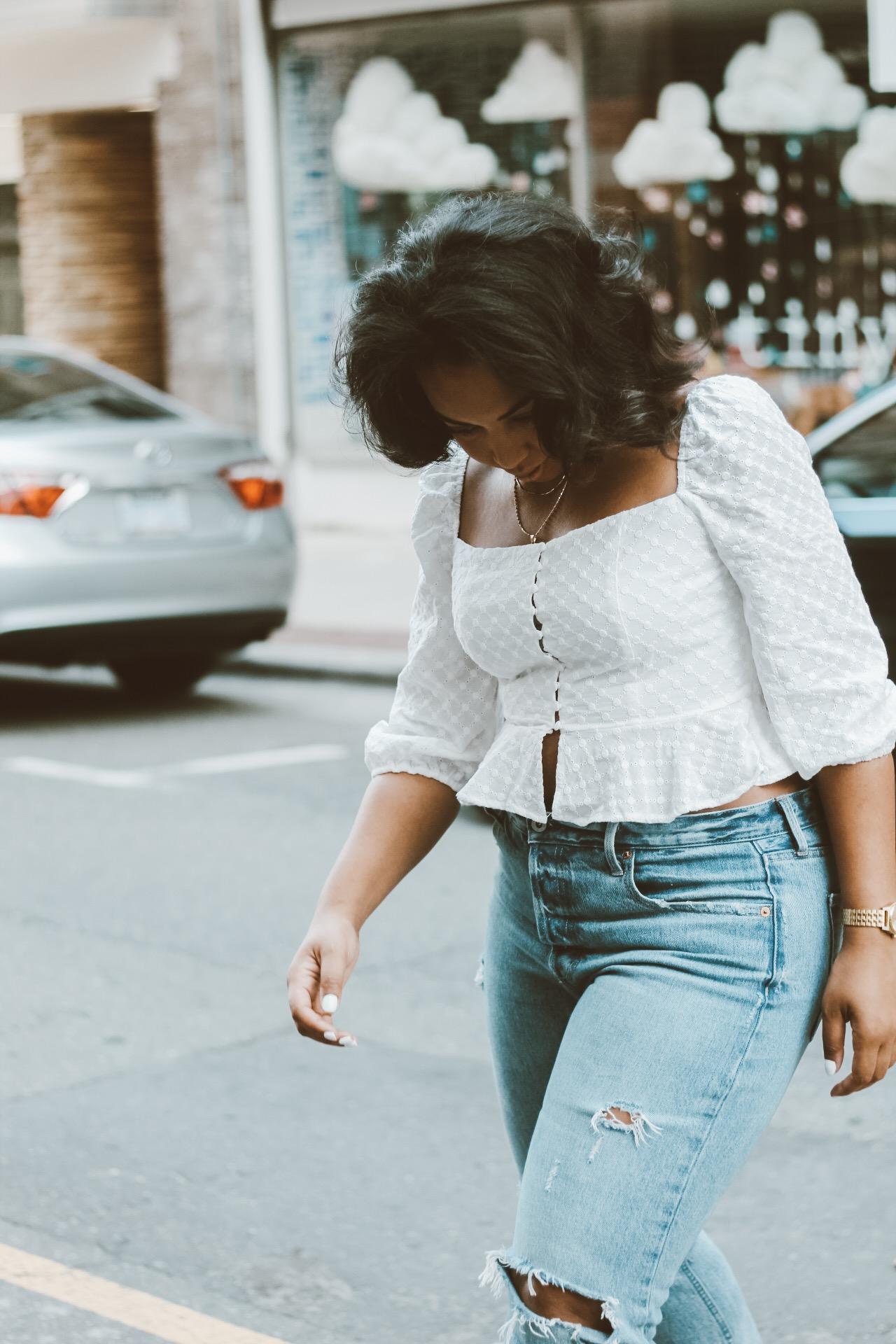Forever-21-eyelet-blouse-gap-cone-denim-distressed-jeans-zara-orange-leather-heels-5.JPG