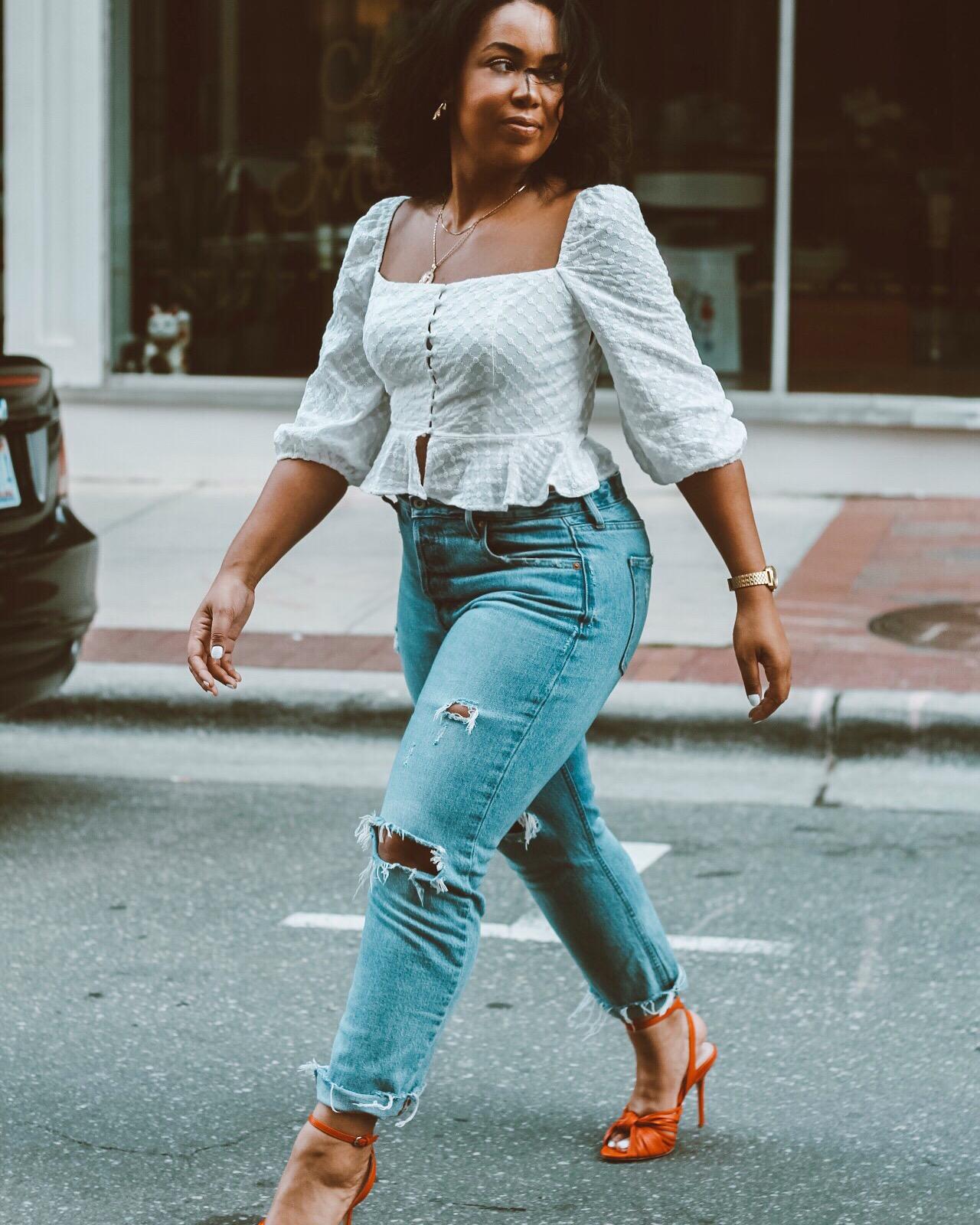 Forever-21-eyelet-blouse-gap-cone-denim-distressed-jeans-zara-orange-leather-heels-6.JPG