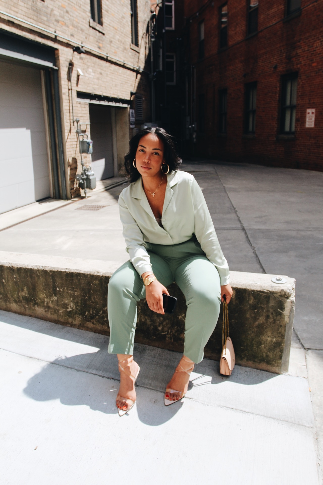 ASOS-high-waist-tailored-pant-satin-shirt-sage-green-public-desire-perspex-strappy-sandals-best-career-advice.JPG