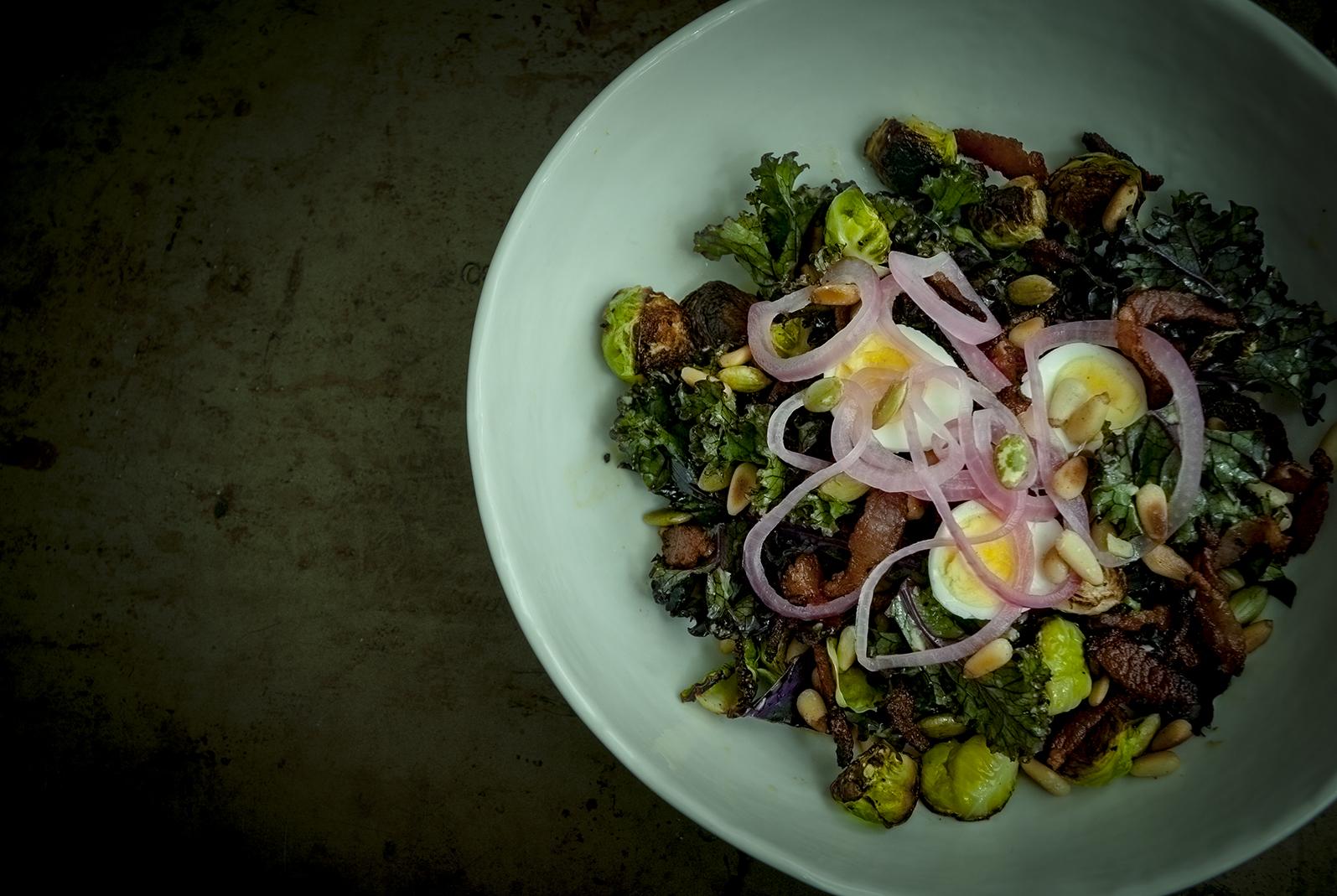 bacon & eggs, kale salad