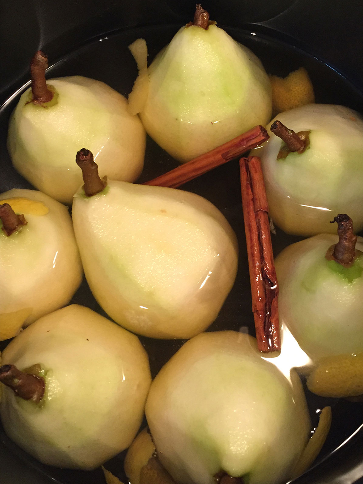 poach the pears upright