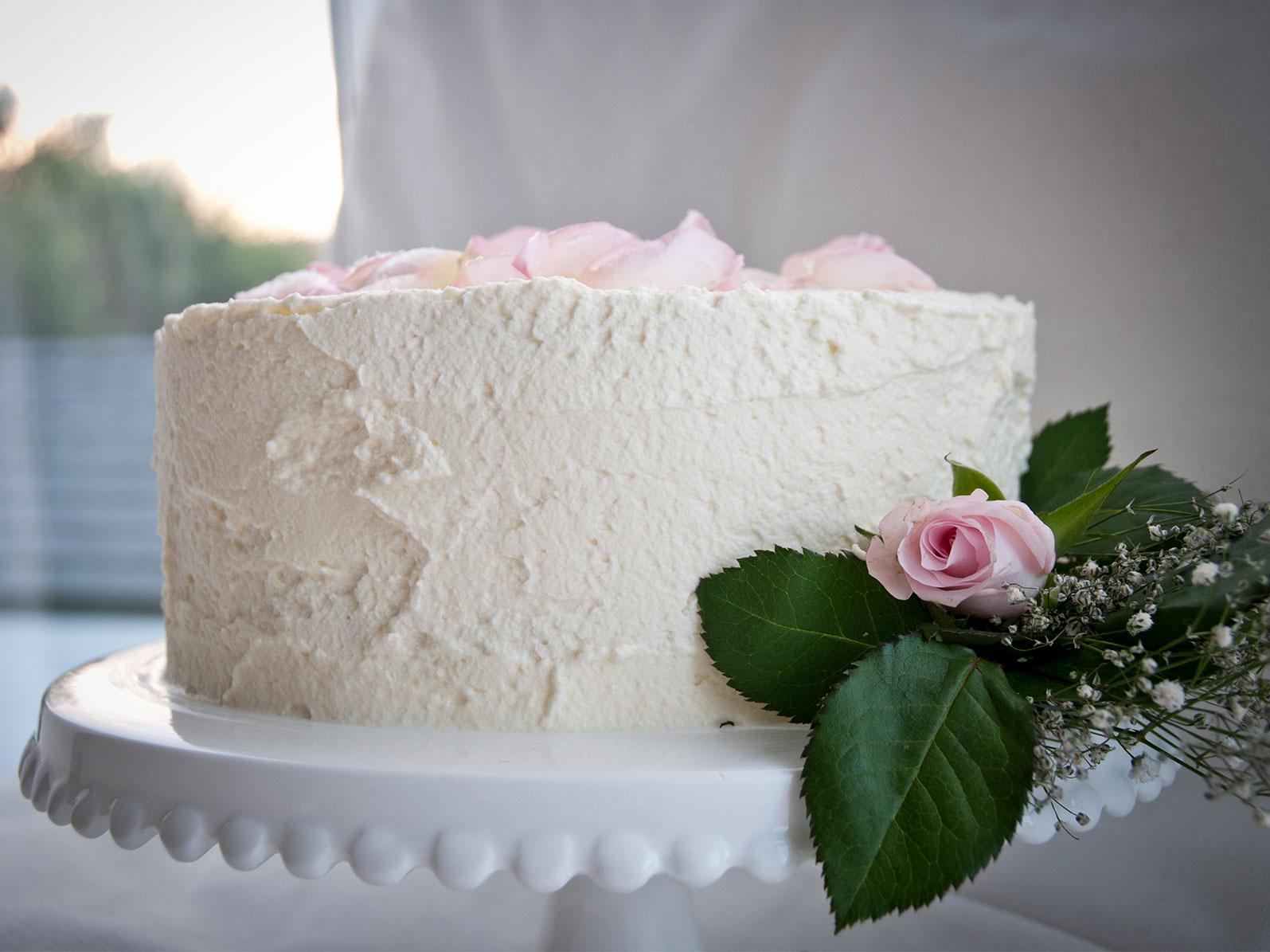 white almond birthday cake