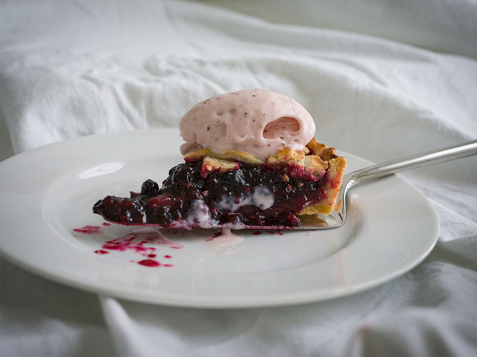 Summer Berry Tart, topped with Strawberry Ice-Cream