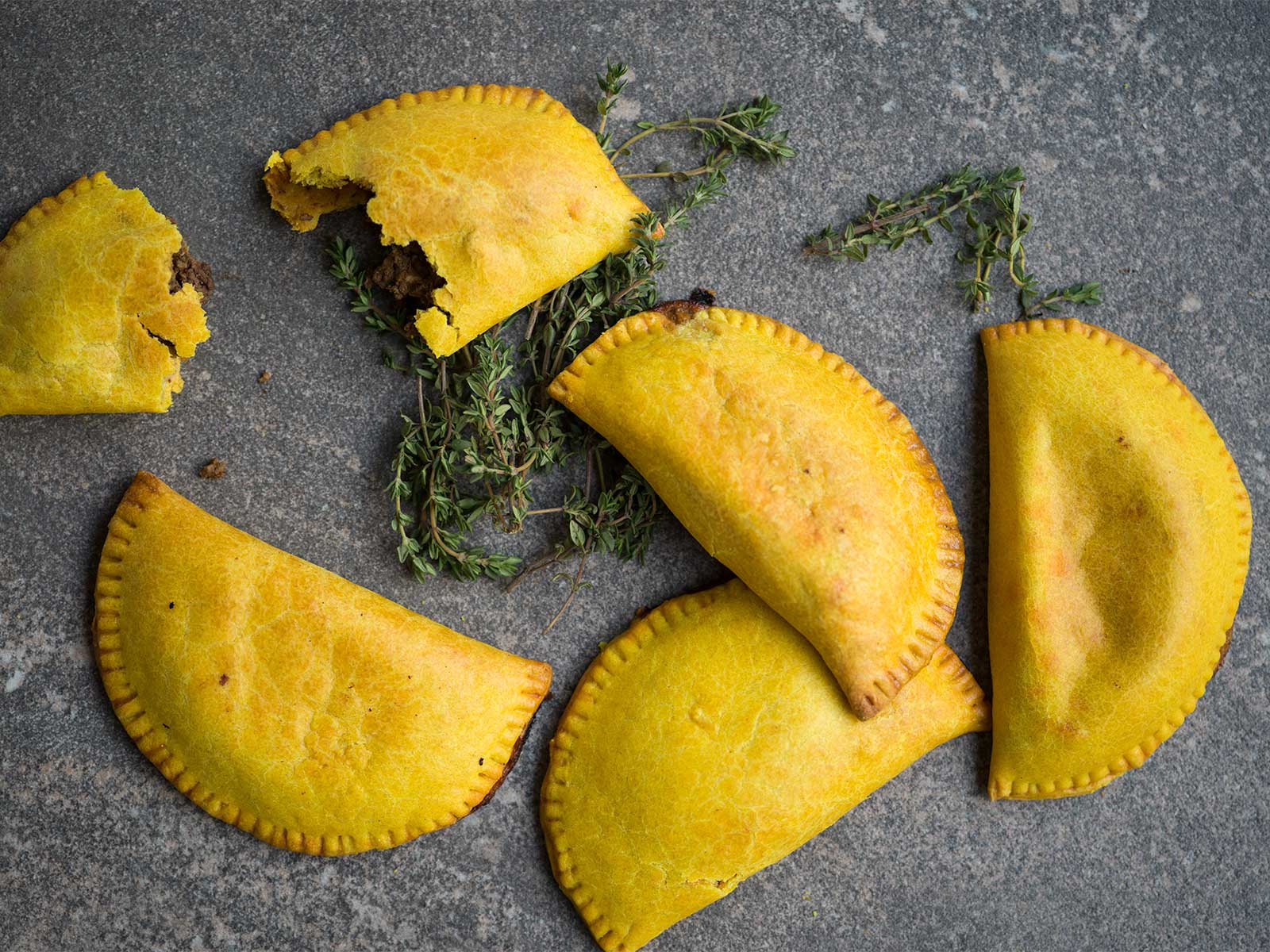 beef spiced with chilli, all spice, garlic, thyme & oregano - jamaican beef patty