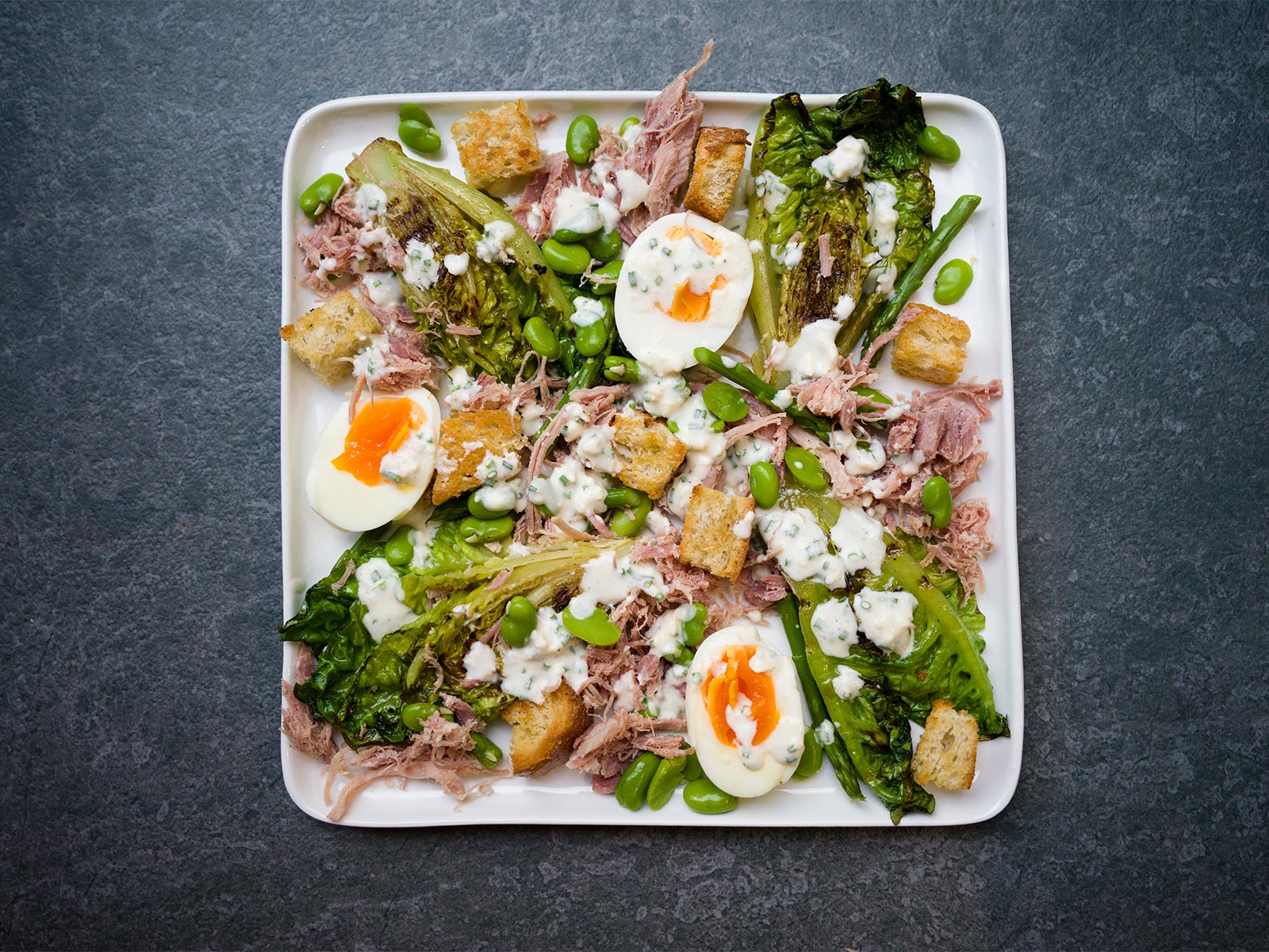 Ham Hock & Egg Salad, with griddled baby gem and a buttermilk & blue cheese dressing Quick & Easy to make mid-week