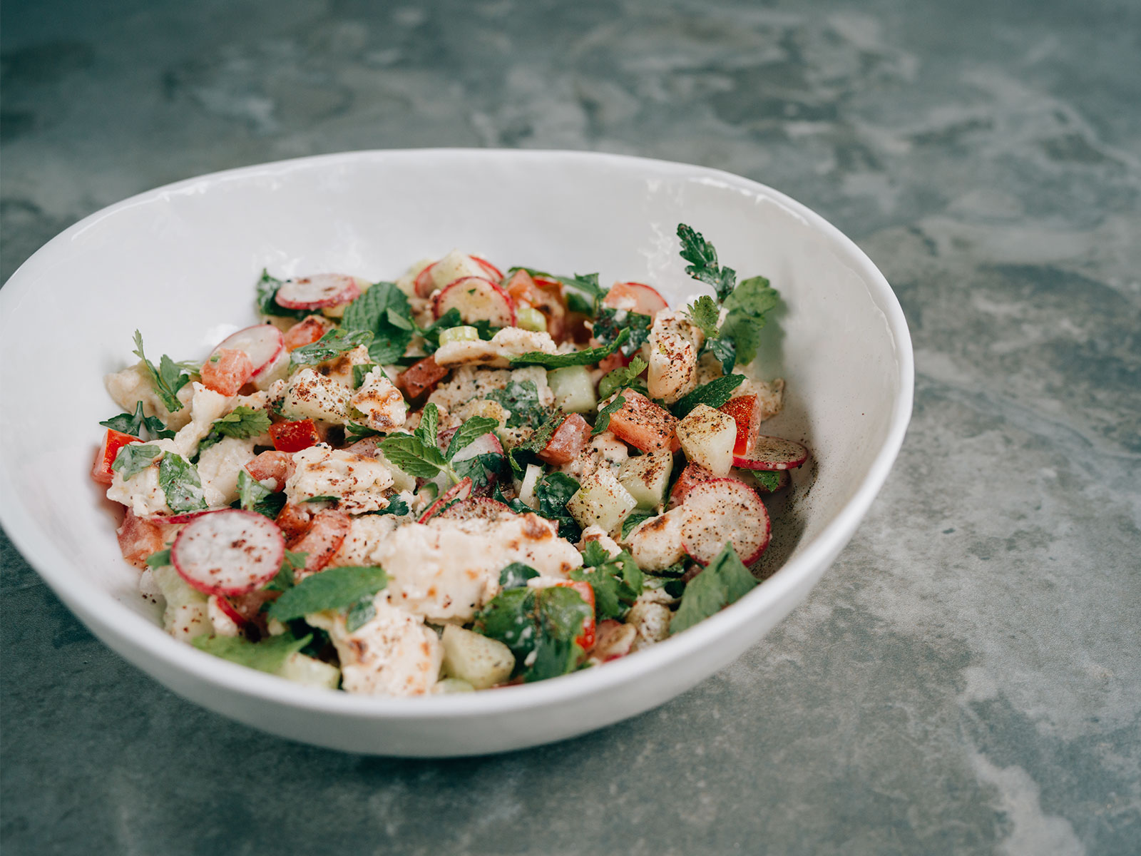 Na'ama's Fattoush Salad | recipe by Yotam Ottolenghi & Sami Tamimi
