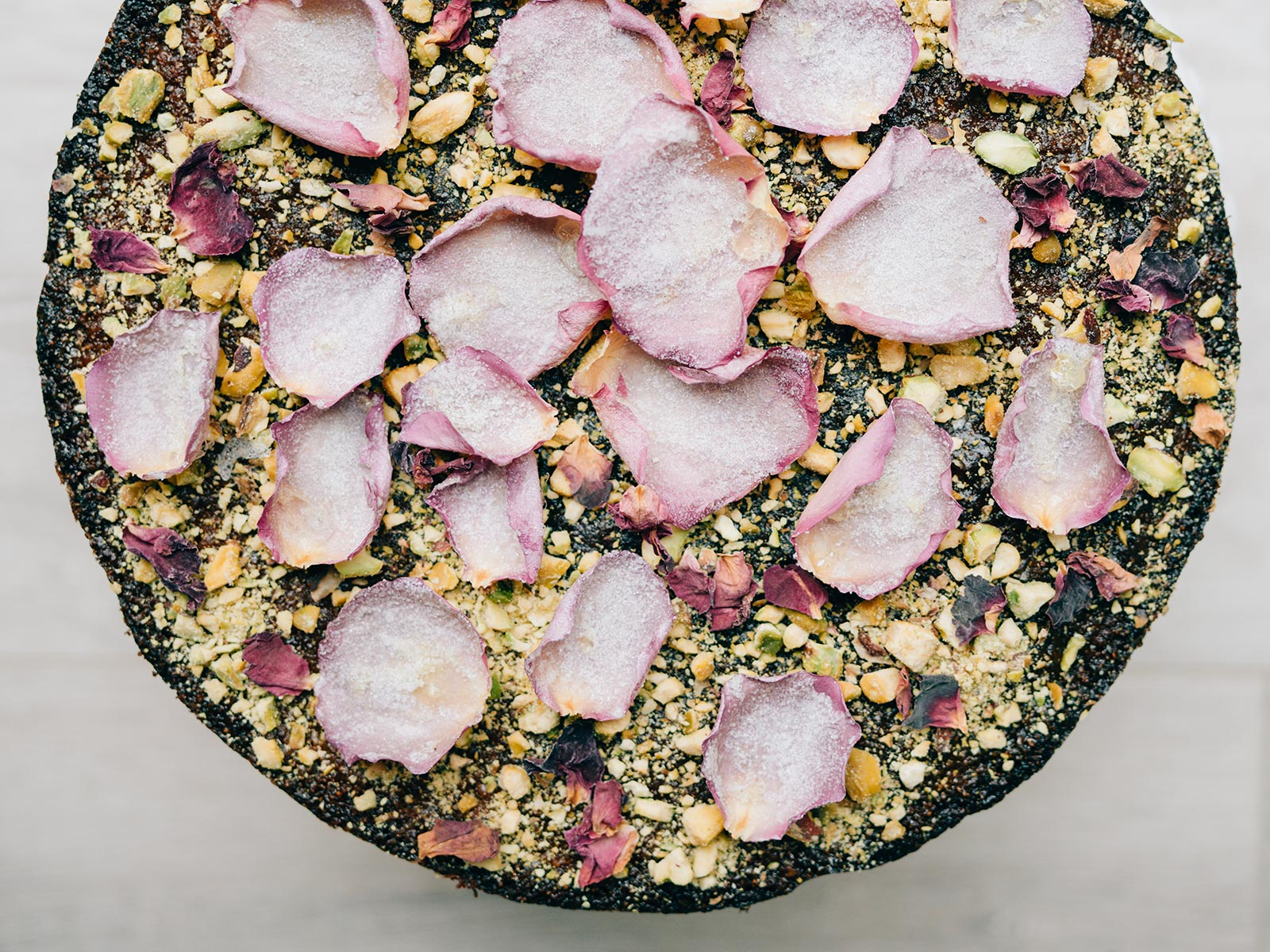 Pistachio & Rose Water Semolina Cake | recipe by Yotam Ottolenghi & Helen Goh