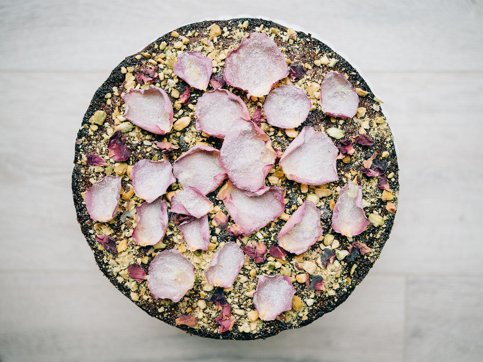 Pistachio & Rose Water Semolina Cake | an exquisite cake