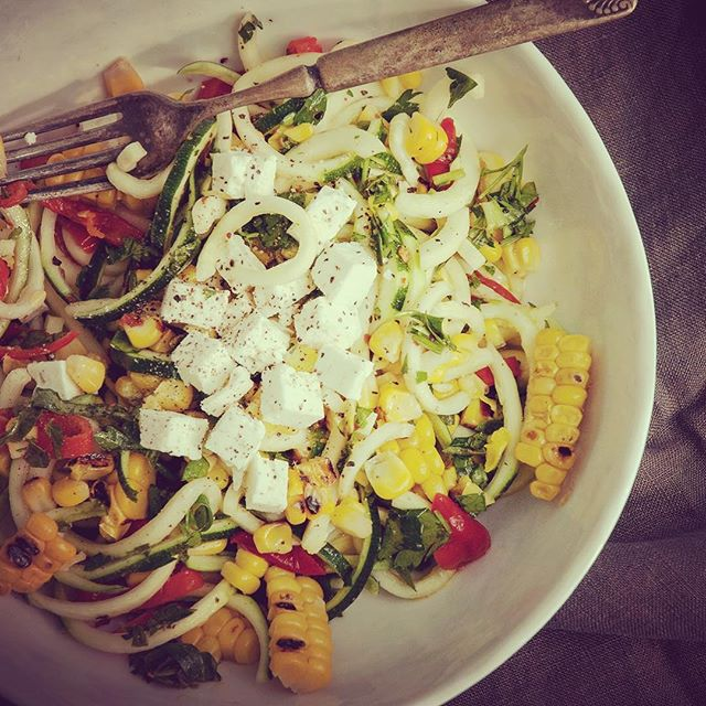 One from the archives... Courgette, Corn & Feta Salad See bio for blog... #courgette #sweetcorn #feta #salad #saladmonth #kitchenaid #kitchenaidspiralizer #onefromthearchives  #shakirawriteaboutlove #shakiranelis . . . . . #irishfoodie #irishfoodblogger #northernirelandphotographer #northernireland #nifood #nifoodblogger #derry #derryfoodblogger #madeinderry #theartofslowliving #livethelittlethings #livethelifeyoulove #creativepreneur #creativeproject  #nothingisordinary #myfab5 #f52grams #dailyfoodfeed #hasselblad #focalmarked