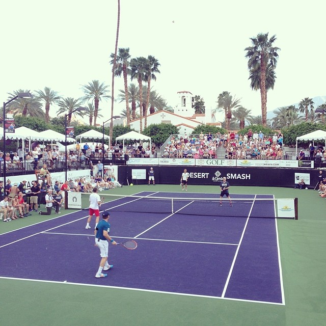 Kevin Spacey and Stan Wawrinka take on Will Ferrell and Novak Djokovic in the Pro Exhibition final. #desertsmash