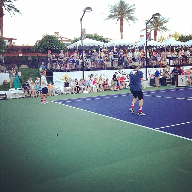 It's on! Will Ferrell and Novak Djokovic serve against Kevin Spacey and Stan Wawrinka in the Pro Exhibition final for @cancerforcollege. #desertsmash