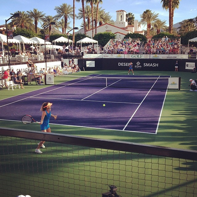 Daniela Hantuchova and Ana Ivanovic face off in the Pro Exhibition for @cancerforcollege. #desertsmash