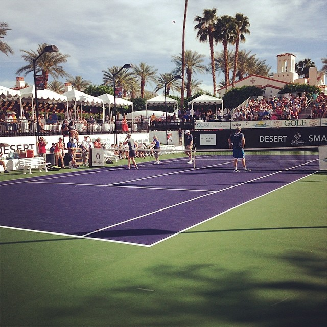 That time Joel McHale served the ball into the back of his tennis partners head, Rebel Wilson. Only at the Desert Smash. #desertsmash