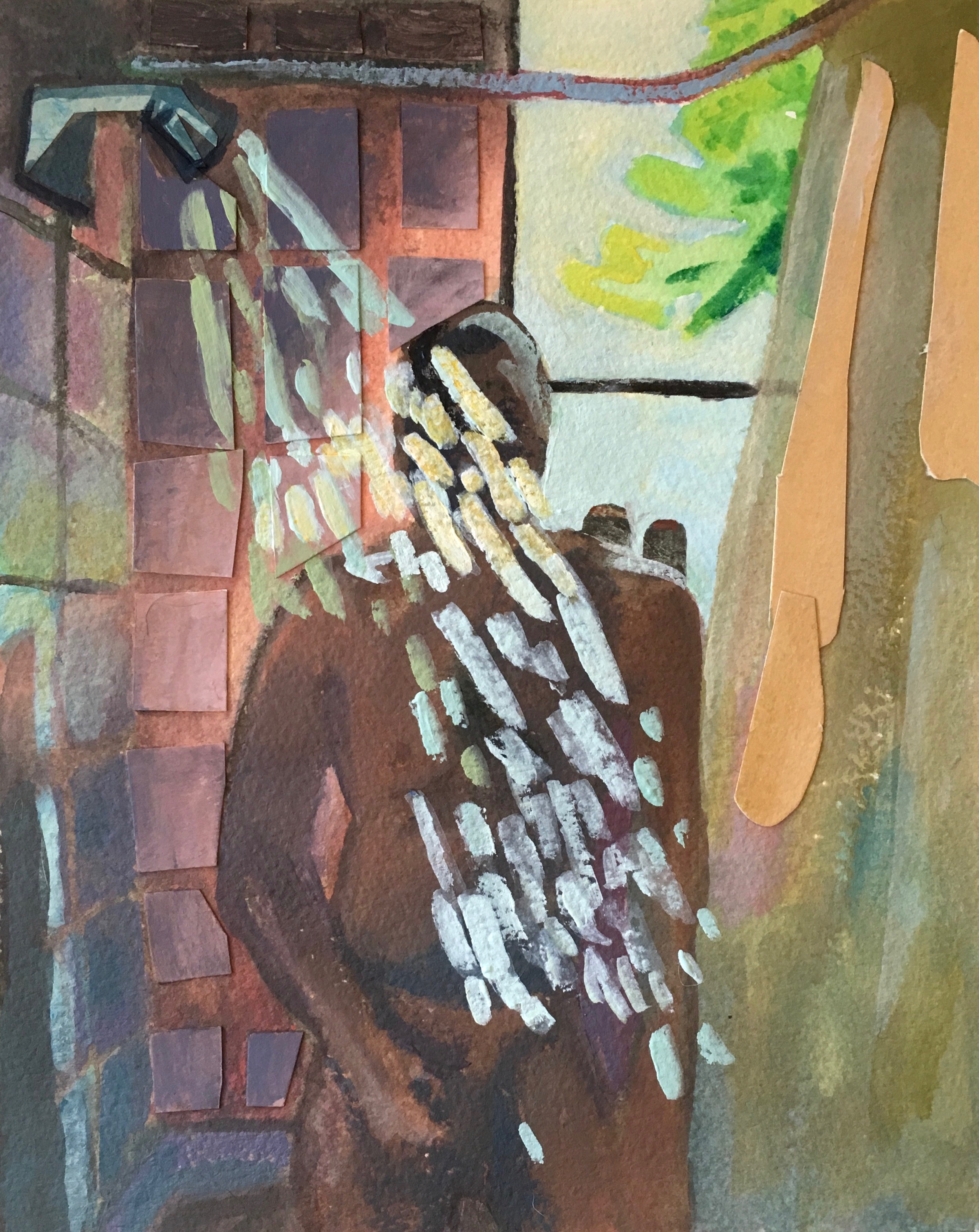 "Showering Man , 9.5"" x 7.5"", Acrylic on paper"
