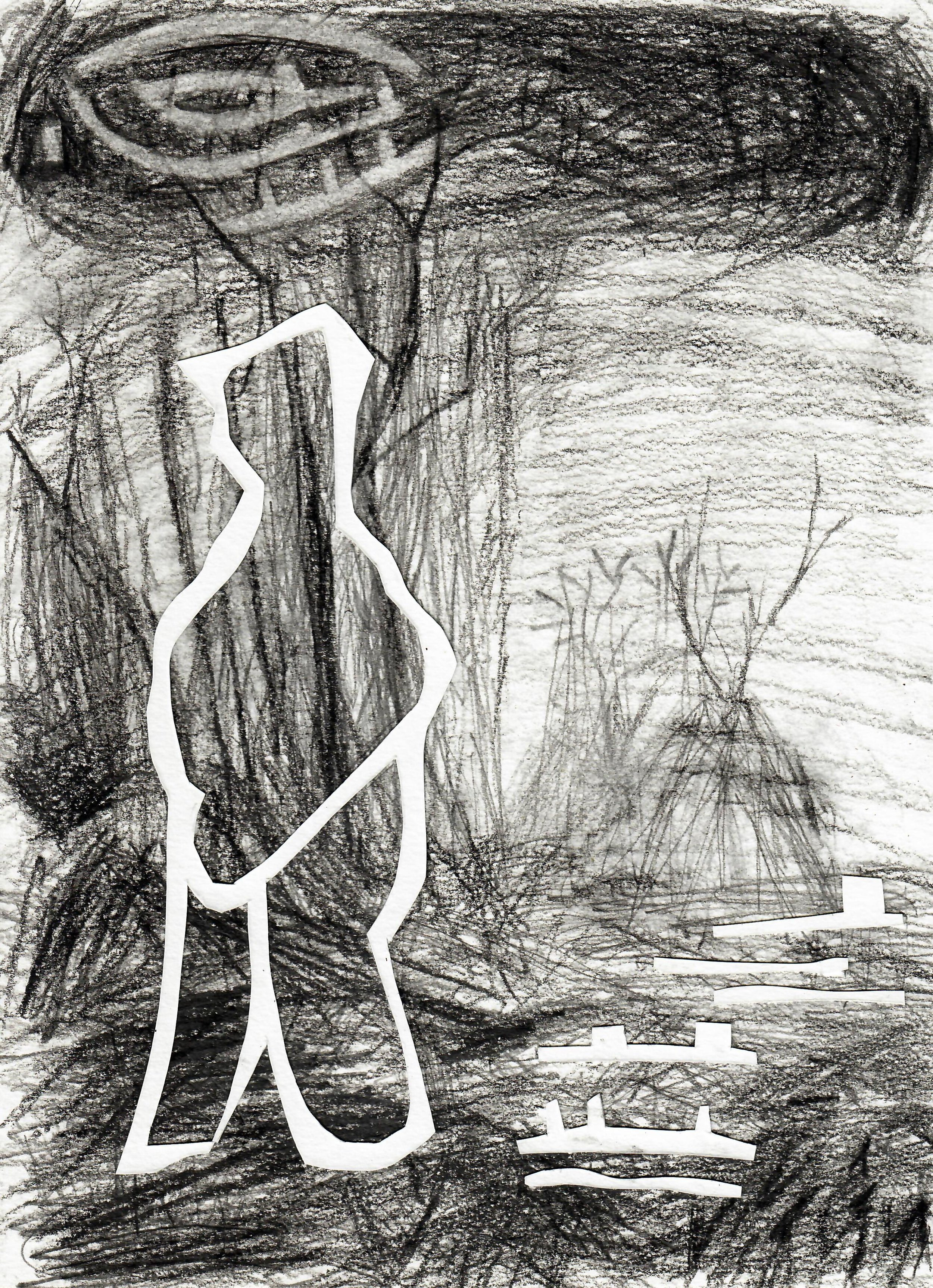 """""""Untitled 4 (Disaster)"""", 12""""x9"""", Graphite on paper, 2018"""