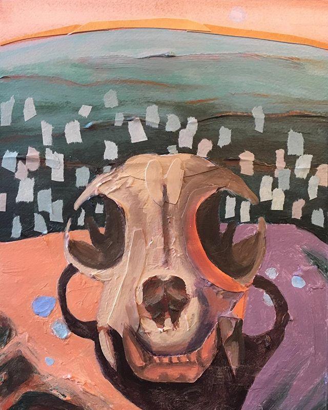 "Just finished this, 10""x8"" ⛰⛰ #bobcatskull #paintingonpaper #emergingartists #archaeology #vividlight"