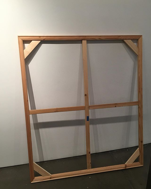 "FREE STRETCHER BAR FRAME! If you want to pick this up, come to Asya Geisberg Gallery in Chelsea, on 23rd between 10th and 11th ave. Size is 59""x51"" #freeartsupplies"