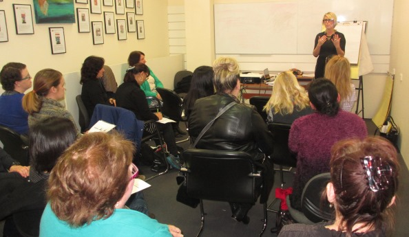"""THE WORKPLACE Principal Solicitor, Hannah Ellis, delivering her seminar """"The A, B and C of Your Rights at Work: What to Know and Where to Go"""" to Dress for Success attendees.Photography / Lyn Vicary"""