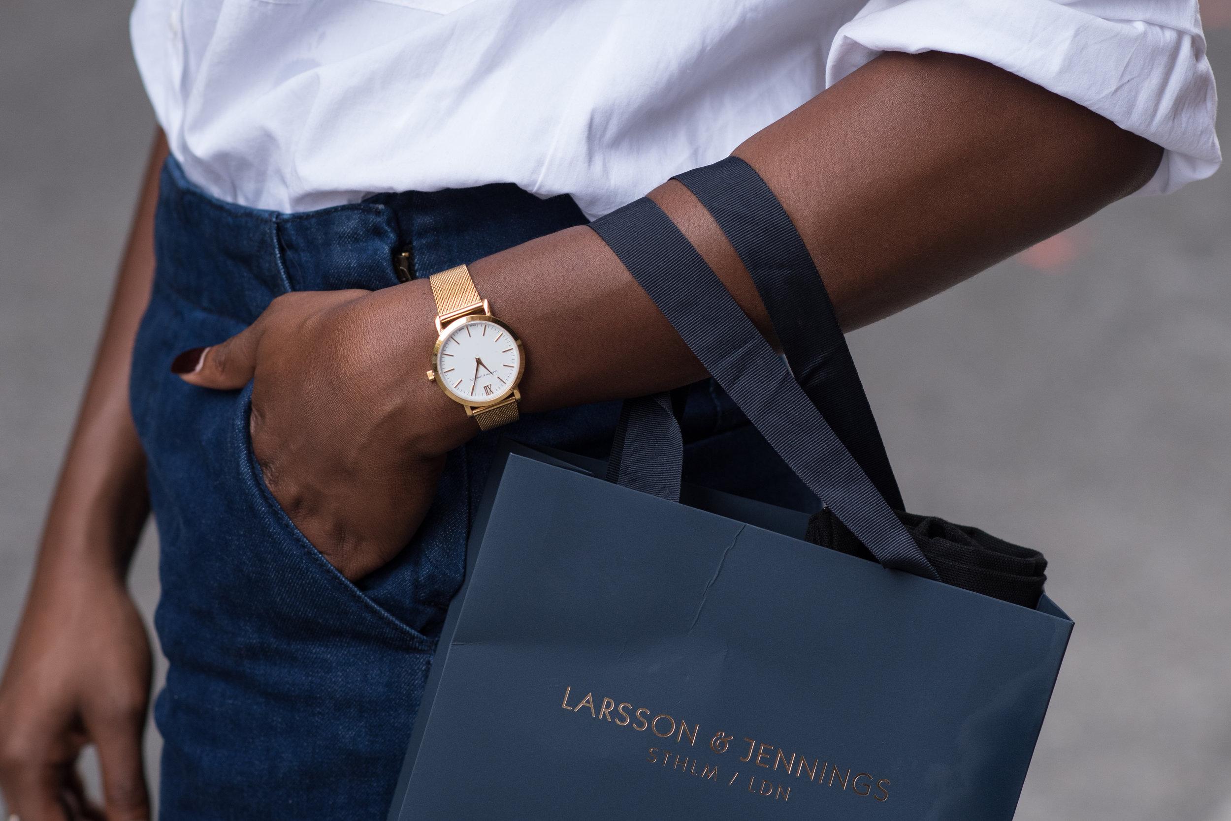 Larsson & Jennings Gold Watch on Atlanta Fashion Blogger, Asiyami Gold