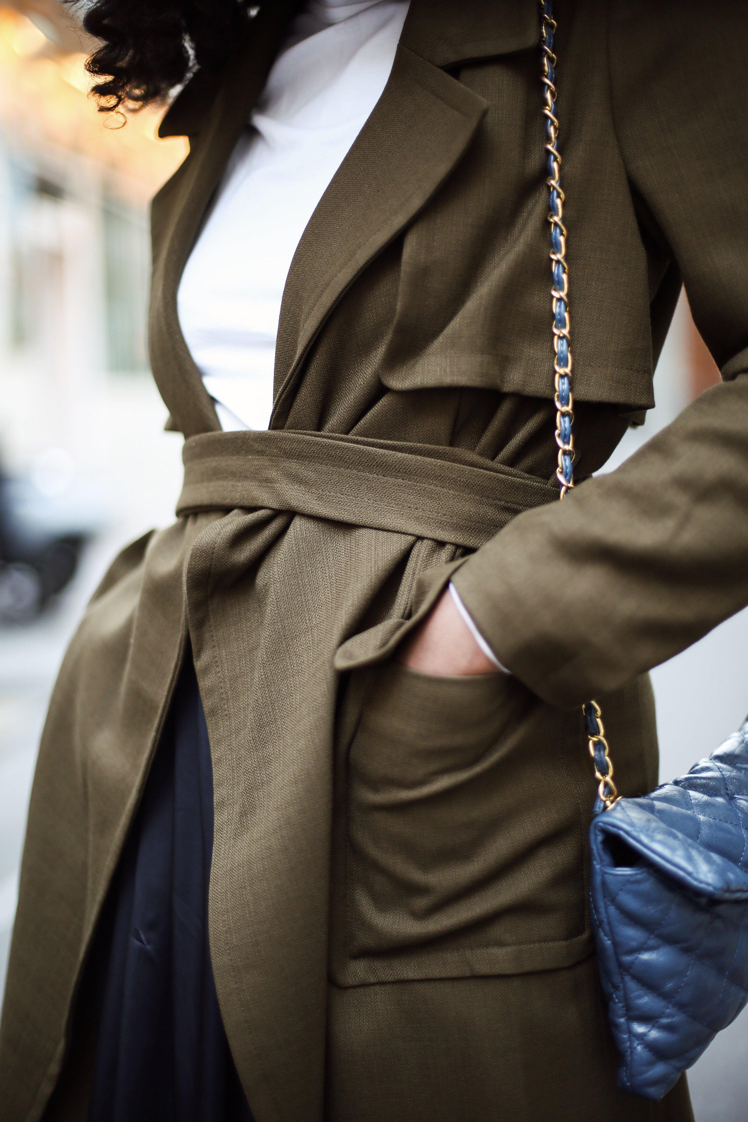 Paris Fashion Week Olive Green Trench | Asiyami Gold