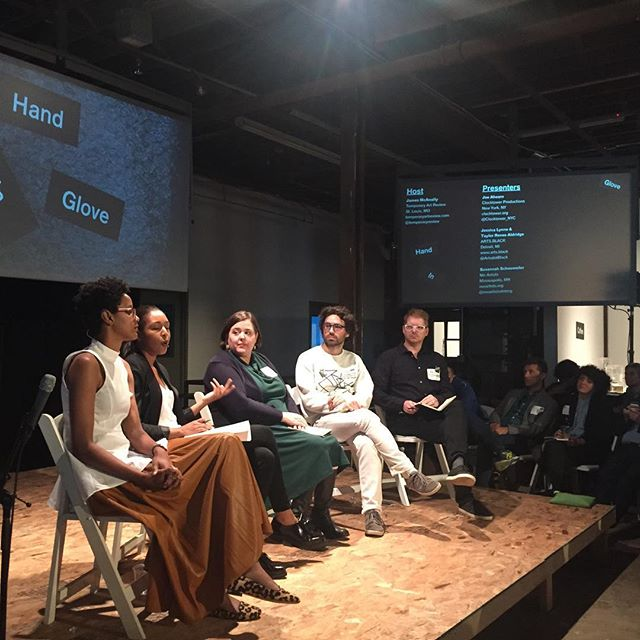 """On Friday, September 18, 2015, a conversation on artist-organized platforms that embody """"alternate modes of connection"""" took place at the Soap Factory in Minneapolis. Facilitated by James McAnally of  Temporary Art Review  and titled """"Creating Discourse, Connecting Communities,"""" the panel was part of Hand-In-Glove, a national convening of artists and arts advocates at the Soap Factory in Minneapolis.  Instagram photo by Sofia Bastidas Vivar"""