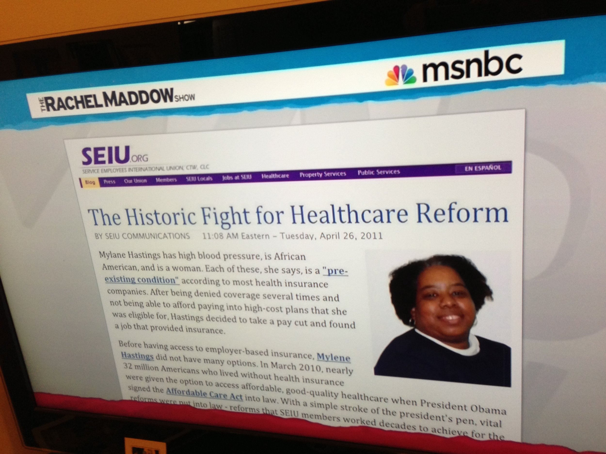 Identity: SEIU website design in one of many screen-grab appearances on MSNBC, Fox News, and other television commentary.