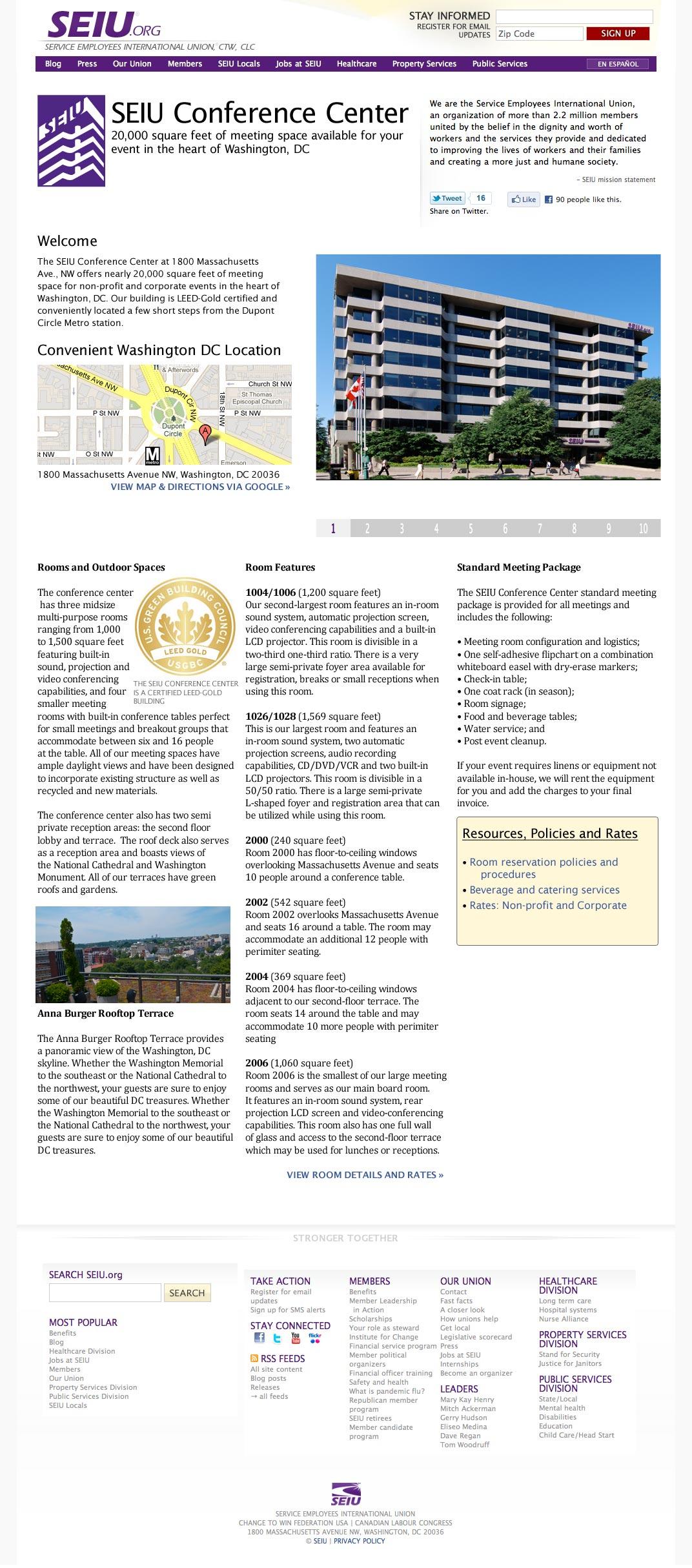 Website design: SEIU full page screenshot.