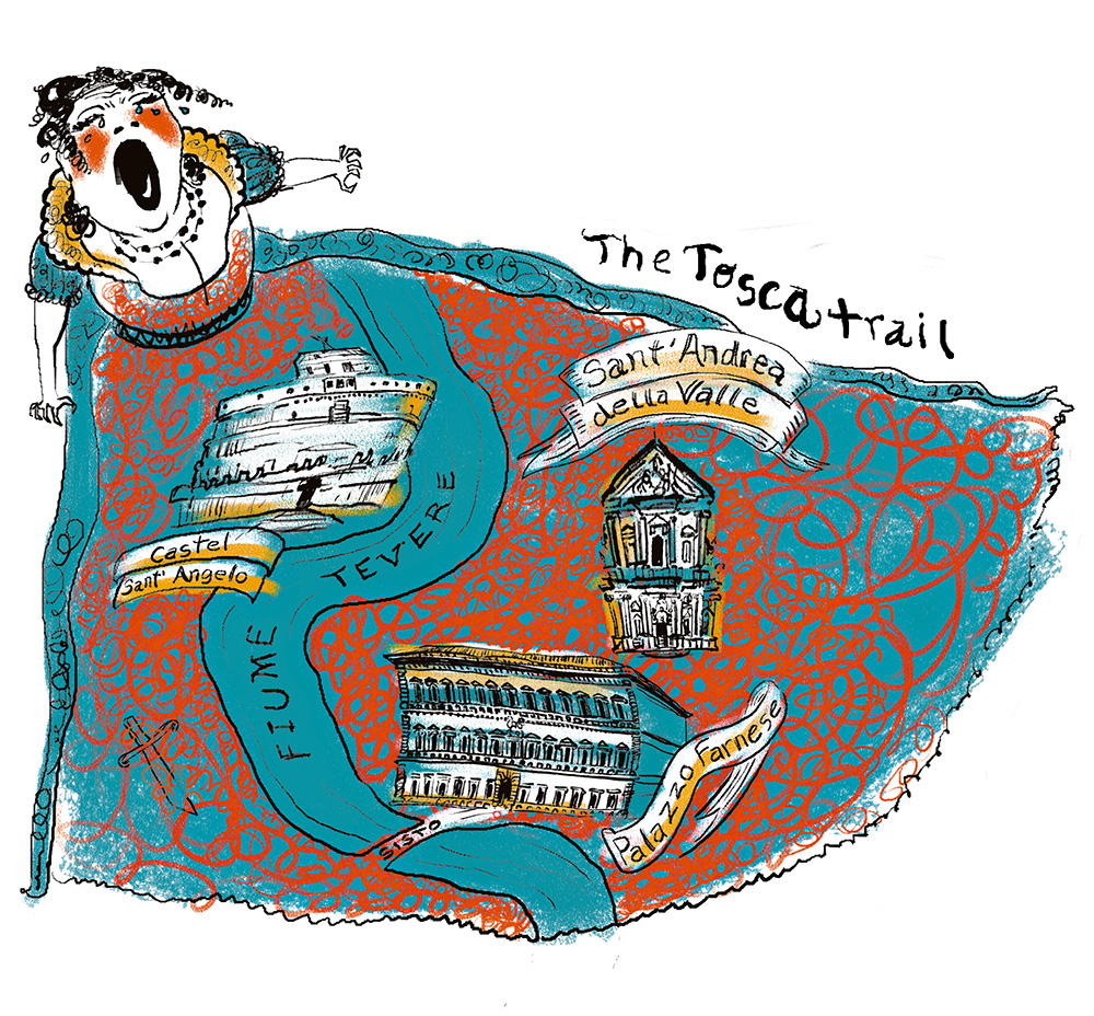 The Tosca Trail. Map for a story about Italian opera.
