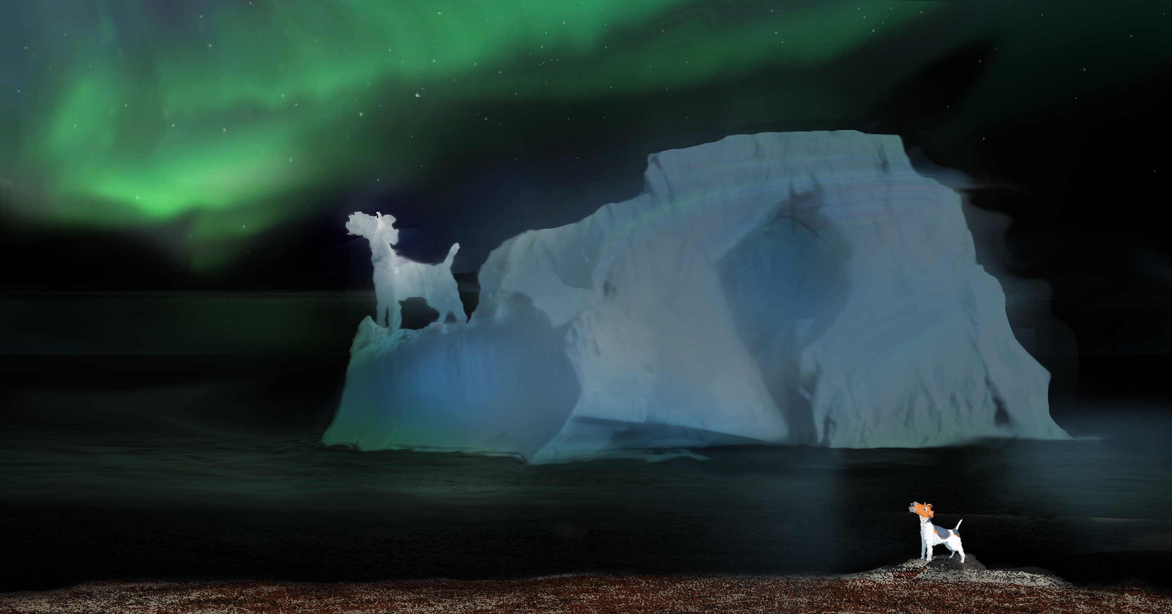 Northern lights and ice at night.