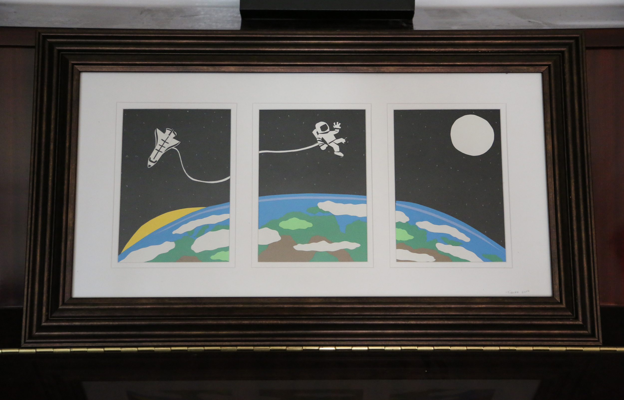 Created as a gift to adorn the wall of a little girls bedroom, this paper cutout Moonrise over Earth piece was my first venture into creating a tryptic.