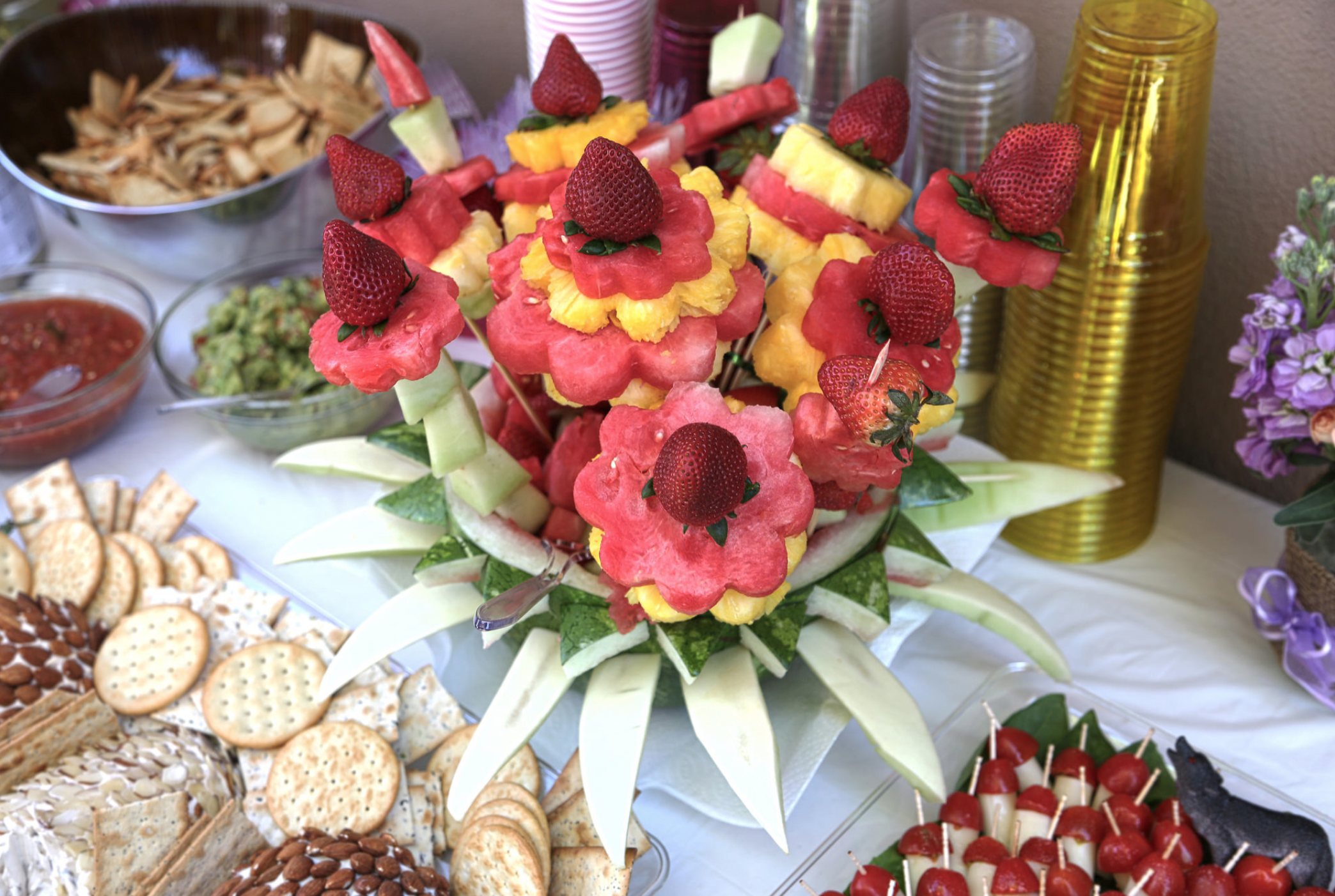 My first attempt at fruit presentation for a party.  Jointly prepared with Denisse Cobian.