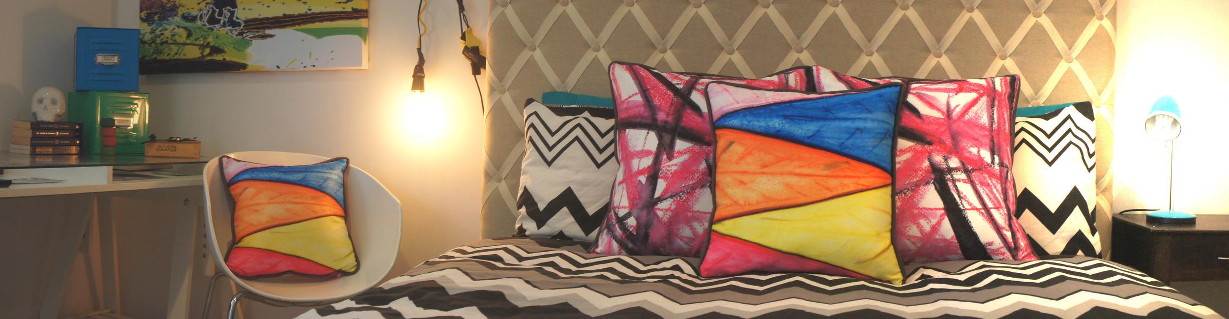 Custom Crayon Art Cushions
