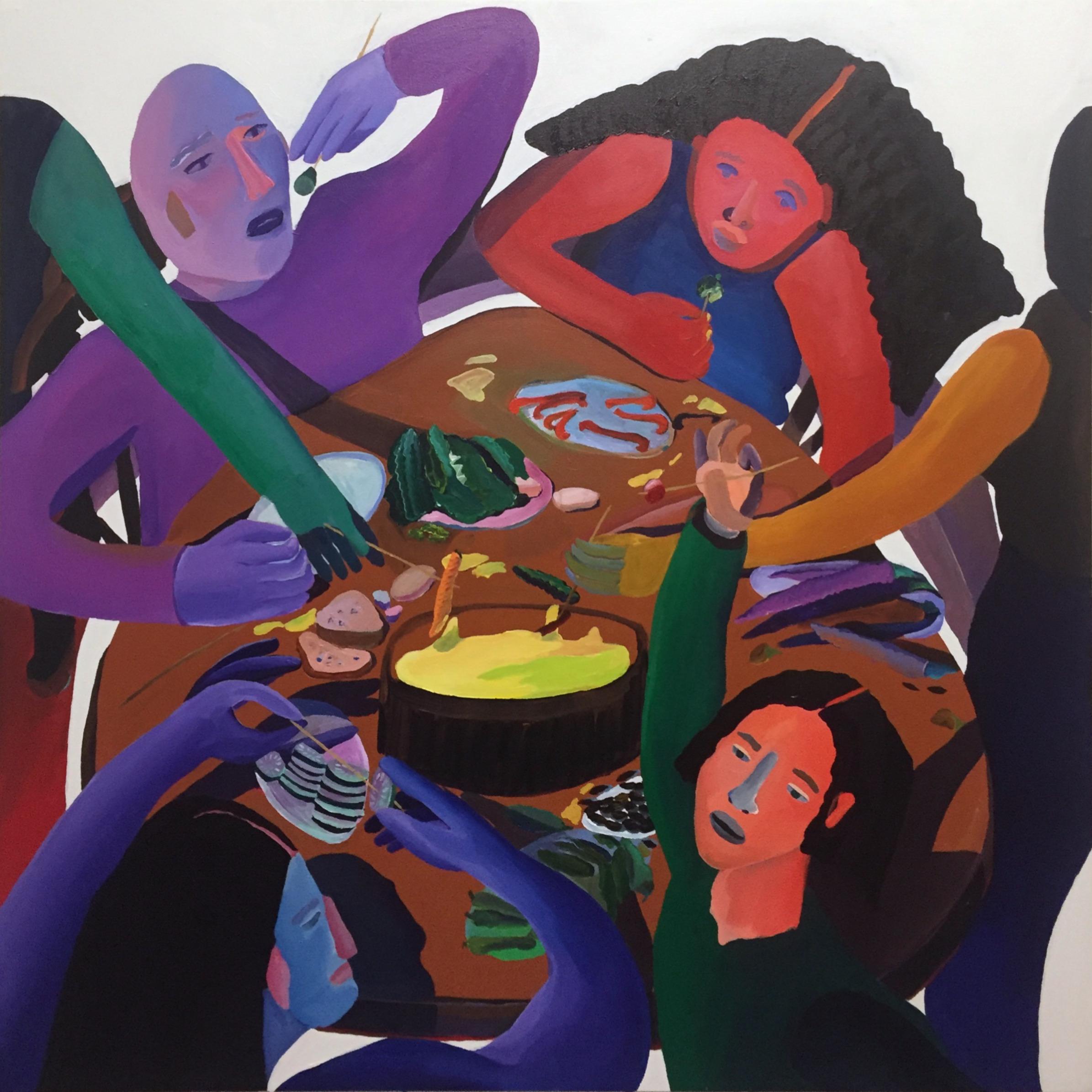 "Fondue Party, 46.5"" x 48"" Acrylic on canvas  2018"