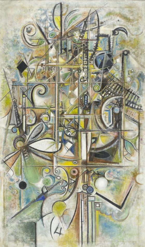 The Edge   Richard Pousette-Dart (United States, Minnesota, Saint Paul, active New York, 1916-1992),United States, 1943-1945,Oil on linen canvas: 81 × 47 1/4 × 1 1/4 in.