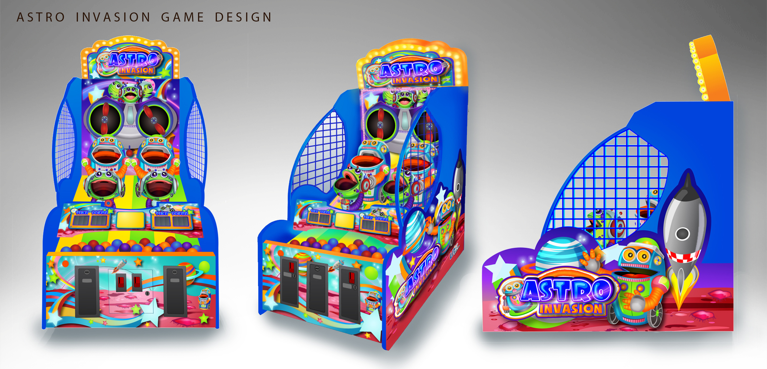 Design of cabinet shape, characters, logos and graphic decals that I came up with for the Astro Invasion ball tossing game.